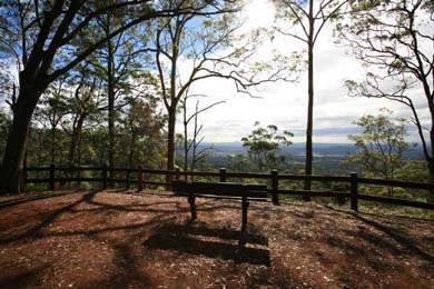 Lookout, views, park bench, Tamborine, Waterfall